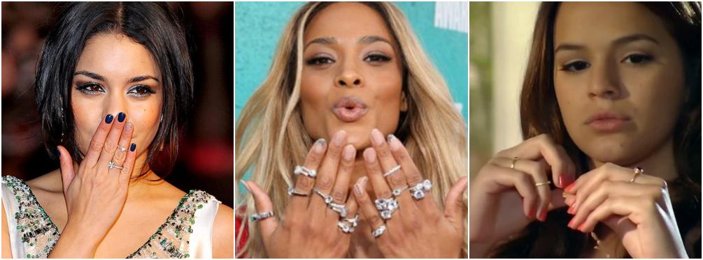 Famosas usando anel de falange