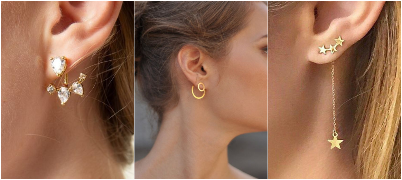 Brincos Ear Jacket ouro