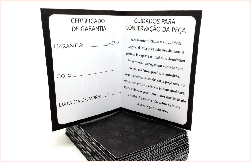 Certificado de garantia de semijoias