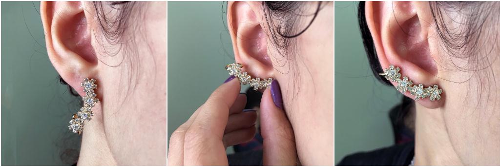 Como colocar brinco ear cuff com piercing