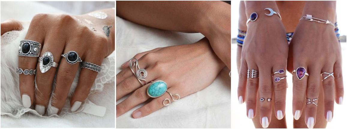 Anéis de pedras naturais estilo boho chic
