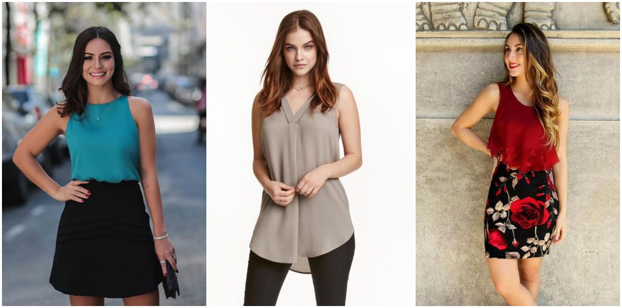 Looks para trabalhar no verão com blusa sem manga