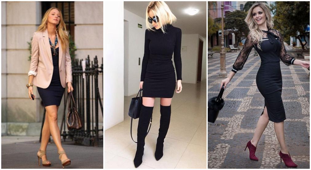 Vestido tubinho preto com salto alto