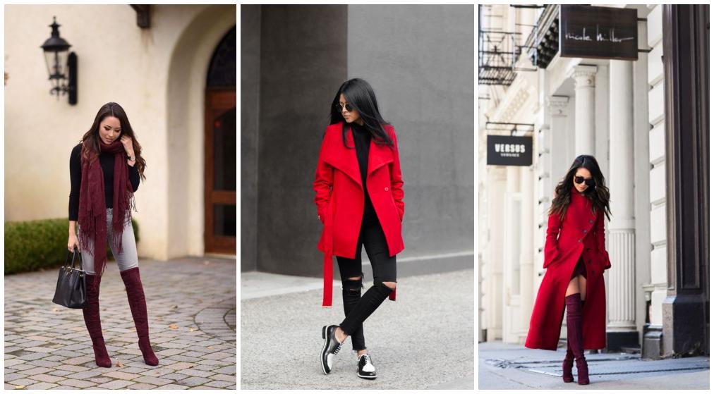 Combinação de cores de roupas vermelhas