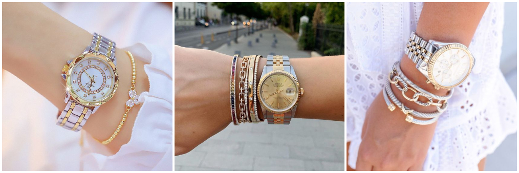 Pulseiras com relógio Prata com dourado